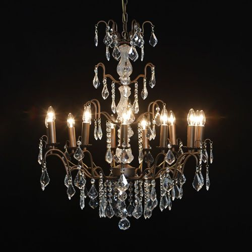 Antique French Cut Glass Bronze Chandelier 12 arms